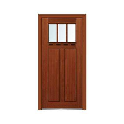36 in. x 80 in. Right-Hand Inswing 3-Lite Clear Low-E 2-Panel Shaker Stained Fiberglass Fir Prehung Front Door w/ Shelf