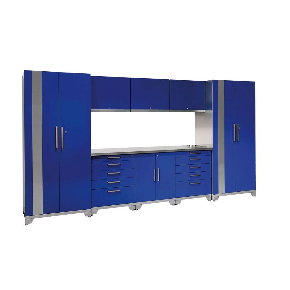 NewAge Products Performance Plus 83 in. H x 156 in. W x 24 in. D Steel Garage Cabinet Set in Blue (9-Piece)