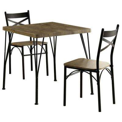 Stasel 3 Piece Grey And Dark Bronze Dining Set