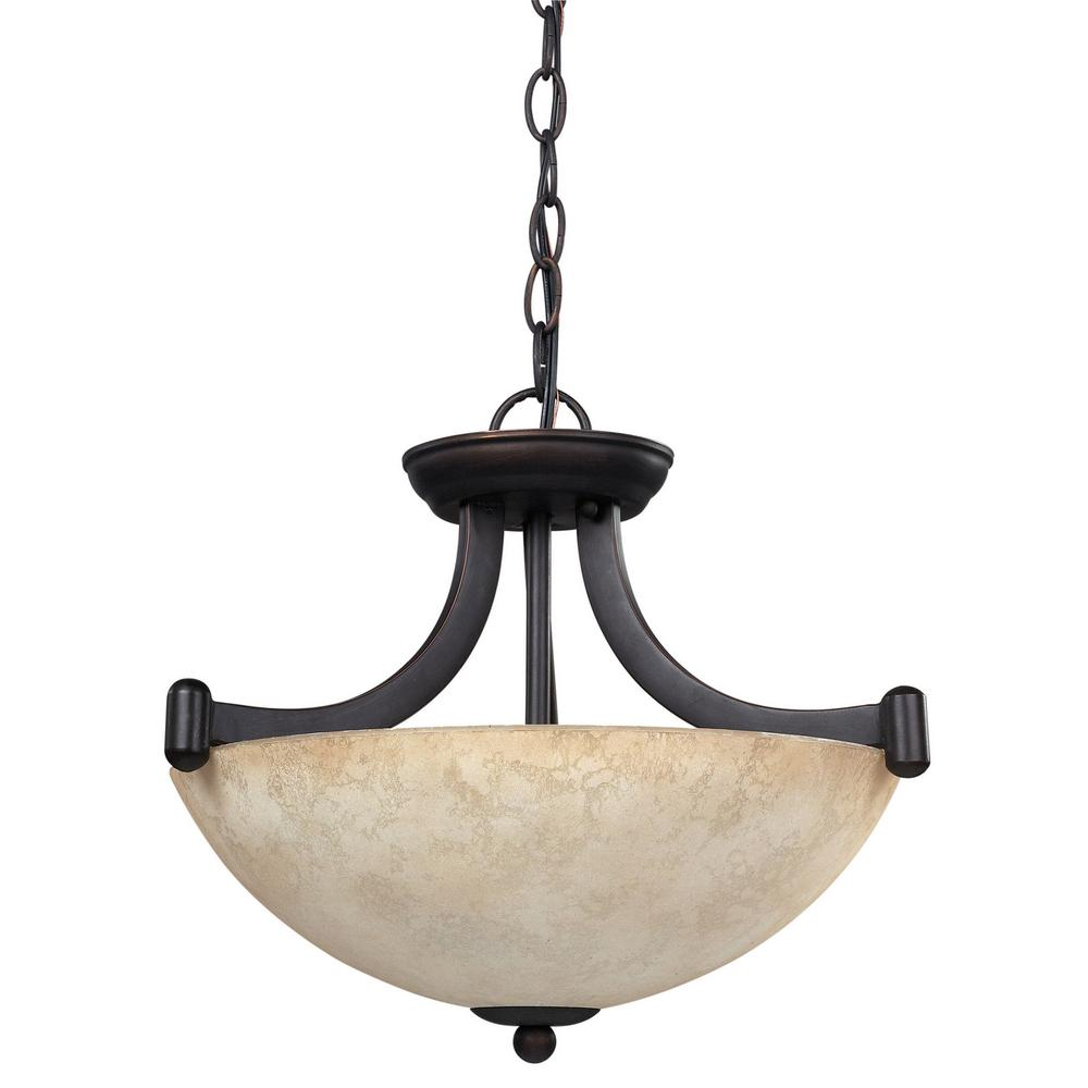 CANARM Warren 3-Light Rubbed Antique Bronze Chandelier with Tea Stained Glass Shade
