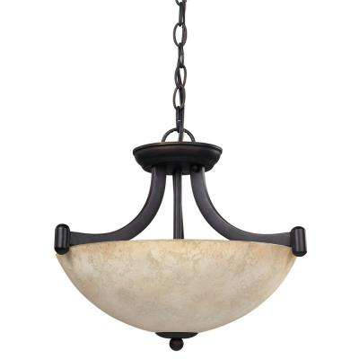 Warren 3-Light Rubbed Antique Bronze Chandelier with Tea Stained Glass Shade