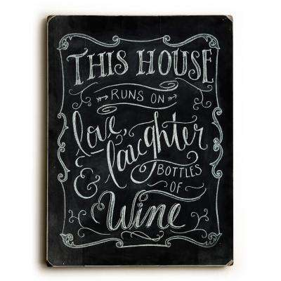 "9 in. x 12 in. ""Love Laughter & Wine"" by Robin Frost Solid Wood Wall Art"