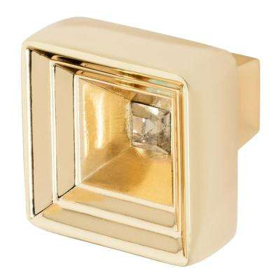 Hidden Treasure 1-1/16 in. Polished Gold with Antique Yellow Crystal Cabinet Knob