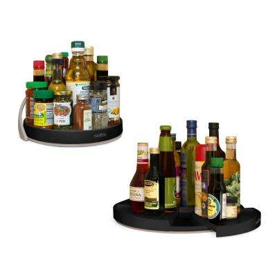 Crazy Susan 11 in. and 16 in. Black Turntable Set