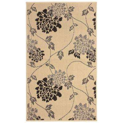 Stencil Chrysanthemum 8 ft. x 11 ft. Indoor/Outdoor Area Rug in Light Grey
