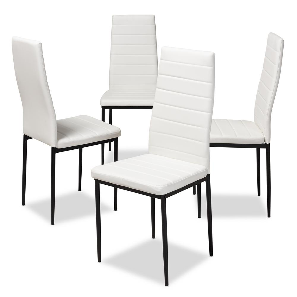 Pleasant Baxton Studio Armand White Faux Leather Upholstered Dining Ibusinesslaw Wood Chair Design Ideas Ibusinesslaworg