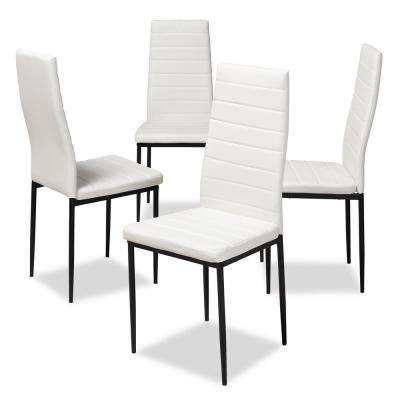 Armand White Faux Leather Upholstered Dining Chair (Set of 4)