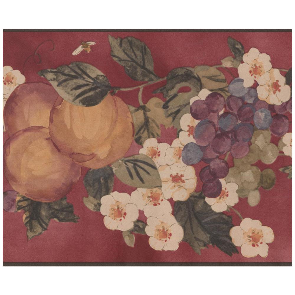 York Wallcoverings Painted Orange Peach Purple Grapes White Flowers on Vine