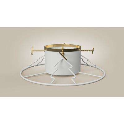 6 ft. to 11 ft. Metal Hi-Capacity Tree Stand in White/Gold