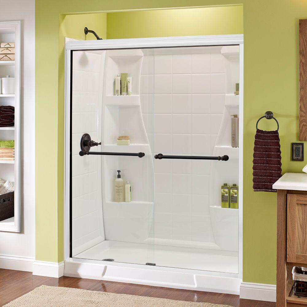 Silverton 60 in. x 70 in. Semi-Frameless Sliding Shower Door in