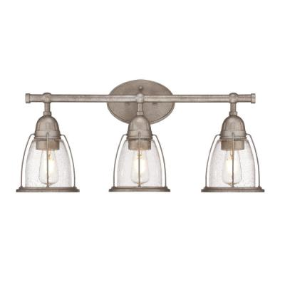 North Shore 3-Light Weathered Steel Wall Mount Bath Light