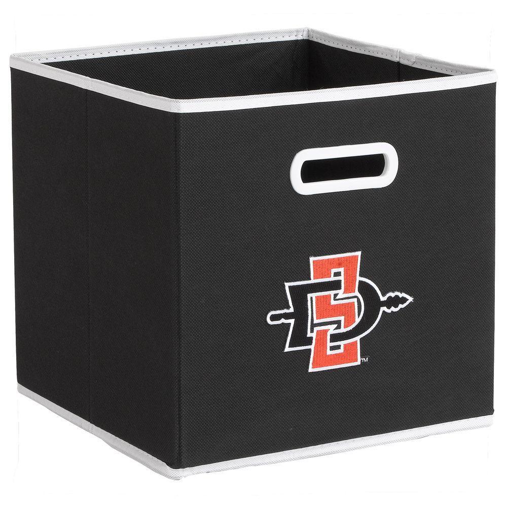 null College STOREITS San Diego State University 10-1/2 in. W x 10-1/2 in. H x 11 in. D Black Fabric Storage Bin