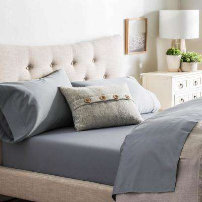 4 Piece Slate Cotton Blend Queen Sheet Set