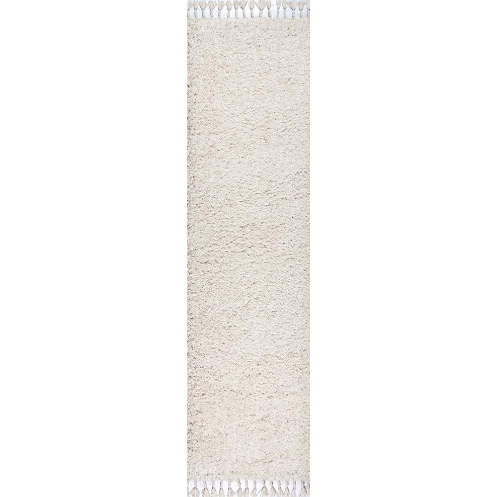 JONATHAN Y Mercer Shag Plush Tassel White 2 ft. x 8 ft. Runner Rug