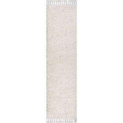 Mercer Shag Plush Tassel White 2 ft. x 8 ft. Runner Rug