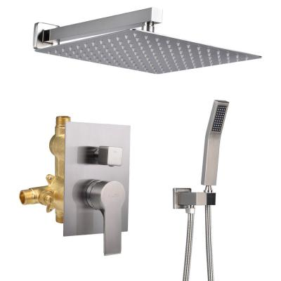 1-Spray Patterns with 2.66 GPM 12 in. Wall Mount Dual Shower Heads with Rough-In Valve Body and Trim in Brushed Nickel