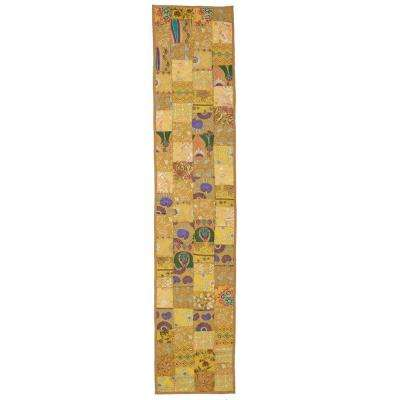 Timbuktu 16 in. H x 80 in. W Hand Crafted Gold Cotton and Poly Recycled Sari Table Runner
