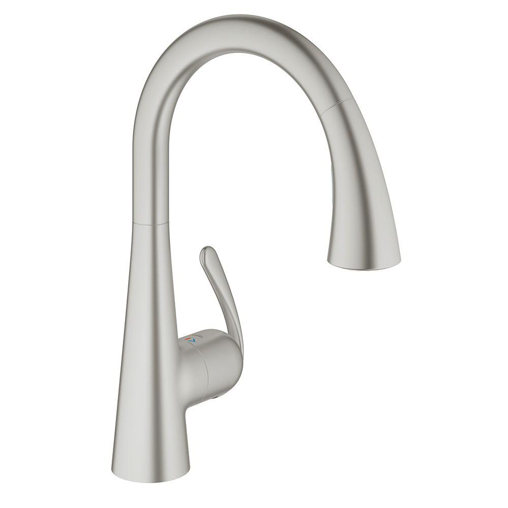 Grohe Ladylux3 Cafe Single Handle Pull Down Sprayer Kitchen Faucet With Dual Spray In Brushed Nickel Infinityfinish 32298dc1 The Home Depot