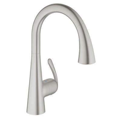 LadyLux3 Cafe Single-Handle Pull-Down Sprayer Kitchen Faucet with Dual Spray in Brushed Nickel InfinityFinish