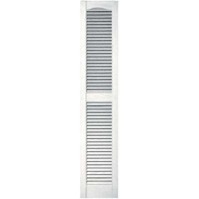 12 in. x 60 in. Louvered Vinyl Exterior Shutters Pair in #117 Bright White