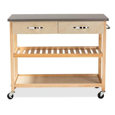 Cresta Natural Kitchen Island with Storage Cart