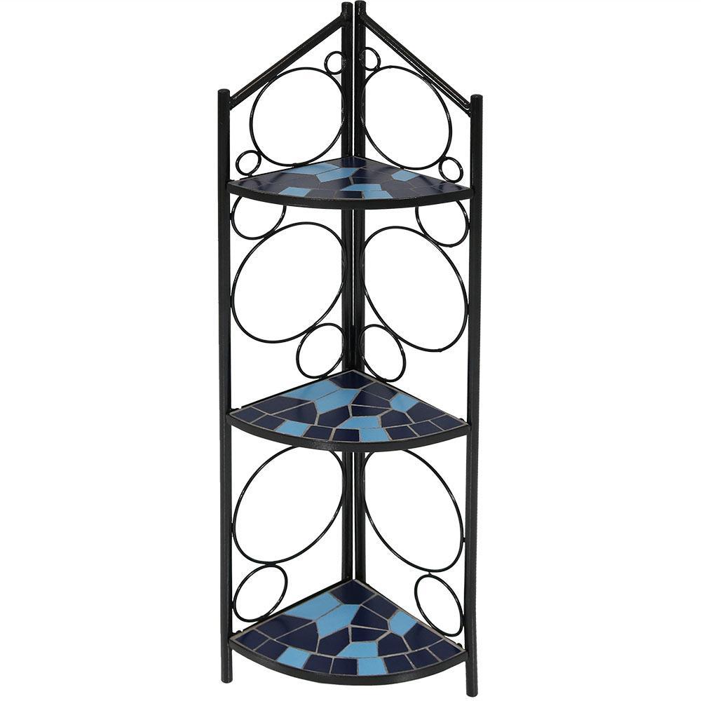 Mosaic Tiled Blue Steel Corner Plant Stand Shelf