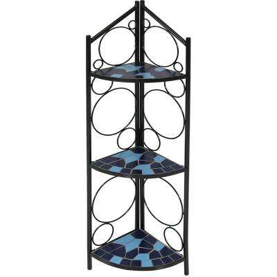 44 in. Mosaic Tiled Blue Steel Corner Plant Stand Shelf