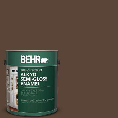 1 gal. #N150-7 Chocolate Therapy Semi-Gloss Enamel Alkyd Interior/Exterior Paint