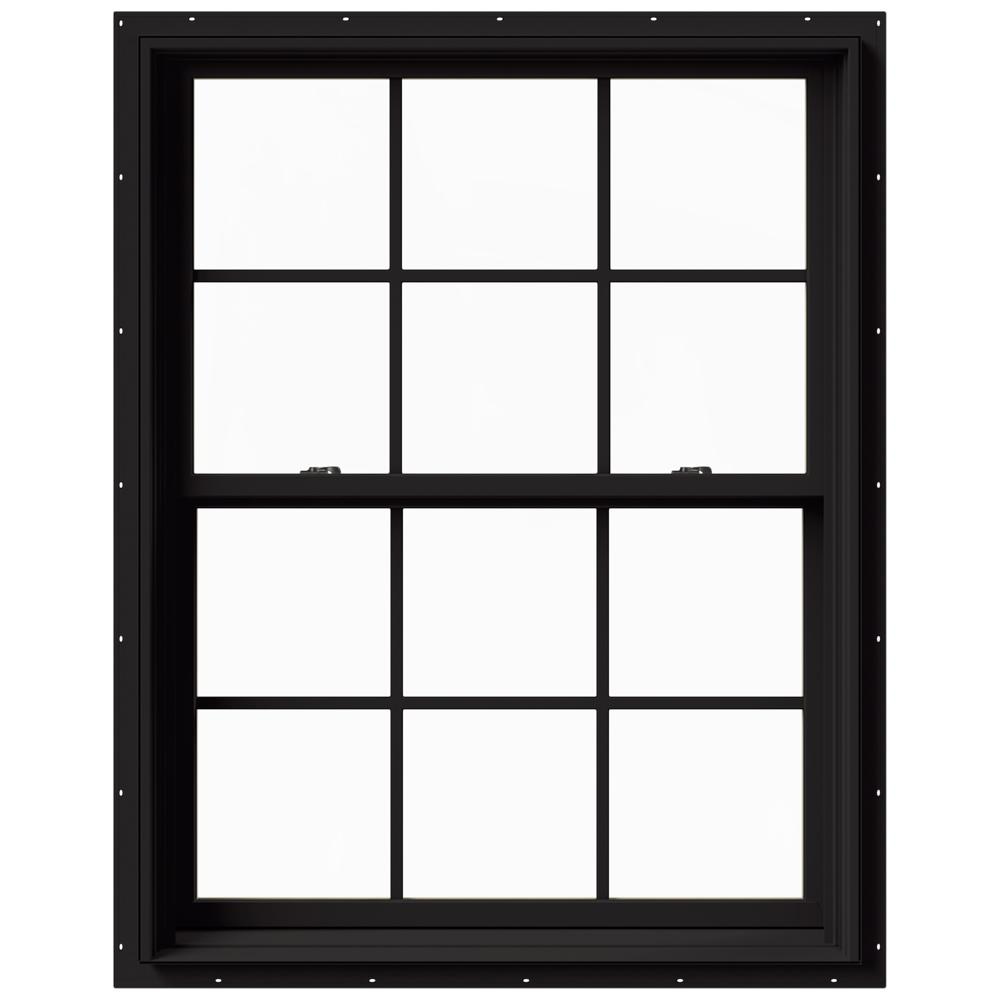 JELD-WEN 37.375 in. x 48 in. W-2500 Series Black Painted Clad Wood Double Hung Window w/ Natural Interior and Screen