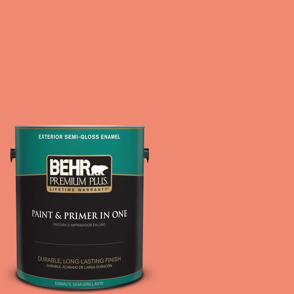 BEHR Premium Plus 1-gal. #190B-5 Juicy Passionfruit Semi-Gloss Enamel Exterior Paint