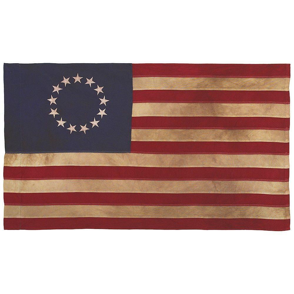 2-1/2 ft. x 4 ft. Sleeved Cotton 13-Star Antiqued U.S. Flag