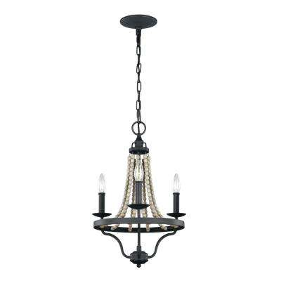 Nori 3-Light Dark Weathered Zinc and Driftwood Grey Chandelier