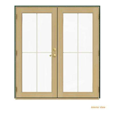 72 in. x 80 in. W-2500 Green Clad Wood Right-Hand 4 Lite French Patio Door w/Unfinished Interior