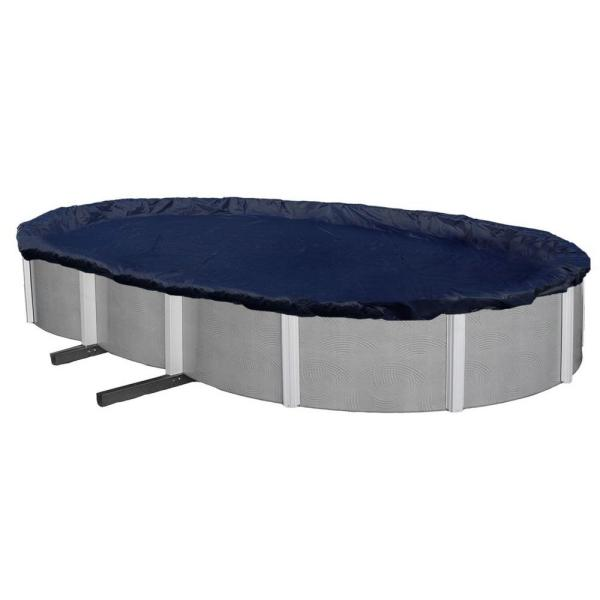 Blue Wave 8-Year 18 ft. x 34 ft. Oval Navy Blue Above Ground Winter Pool Cover
