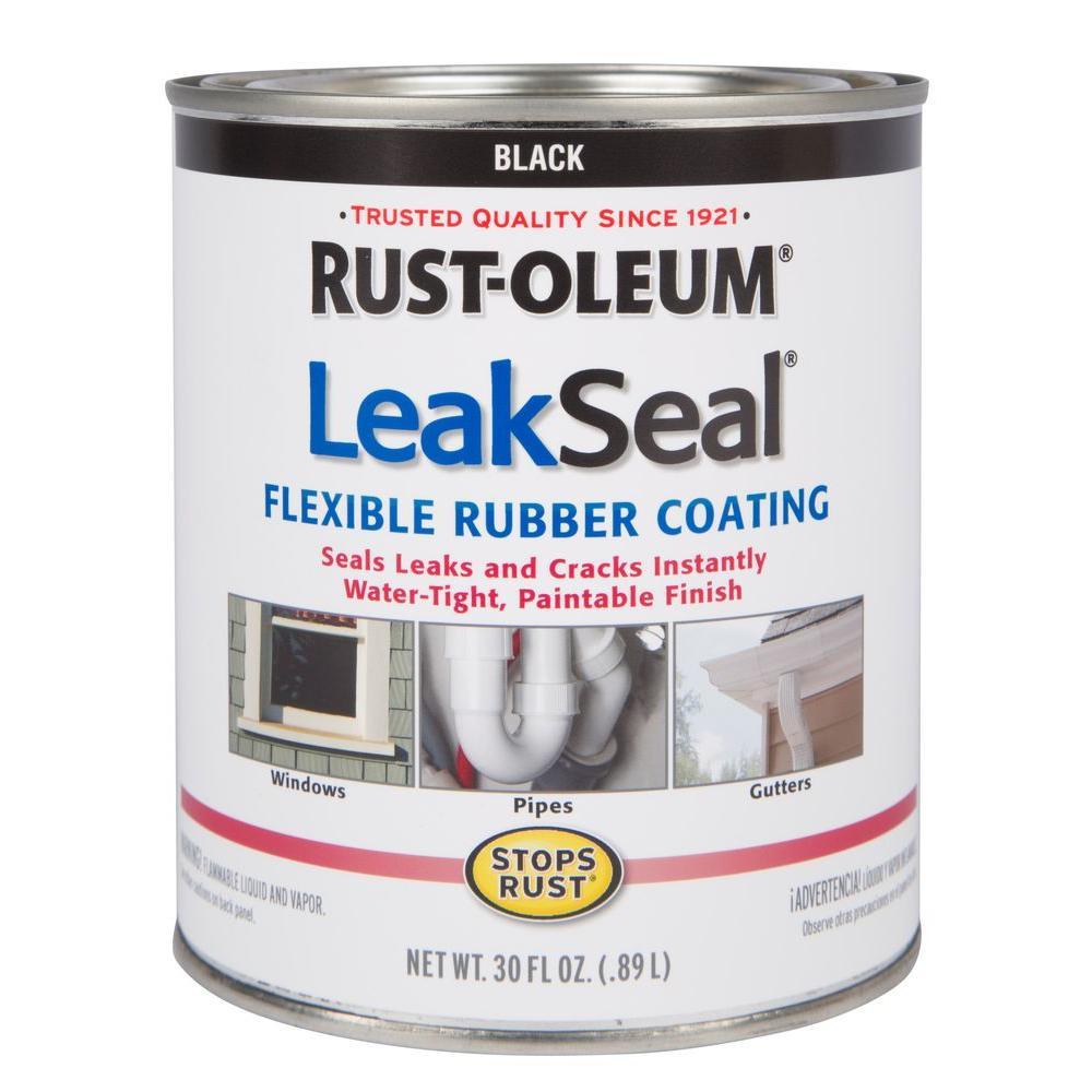 Rust Oleum Stops Rust 1 Qt Leakseal Black Flexible Rubber