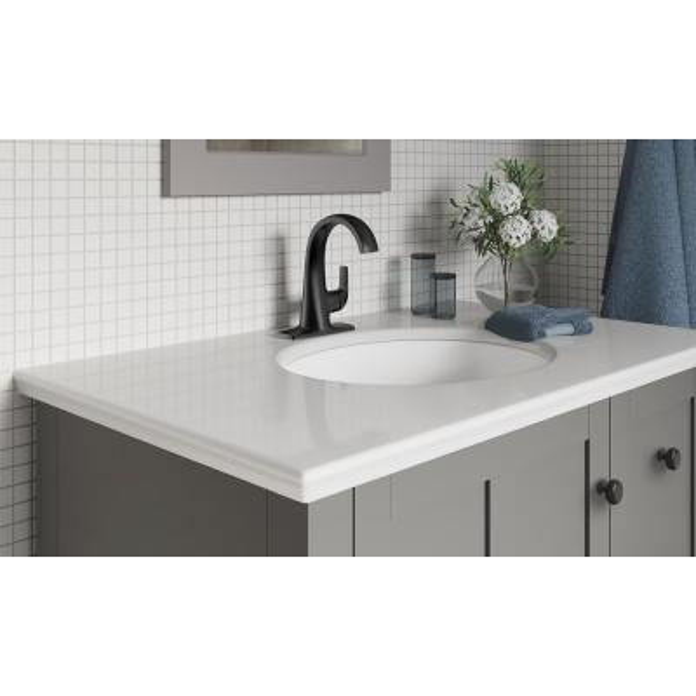Cursiva Single Hole Single-Handle Bathroom Faucet in Matte Black