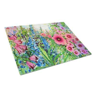 Easter Garden Springtime Flowers Tempered Glass Large Heat Resistant Cutting Board