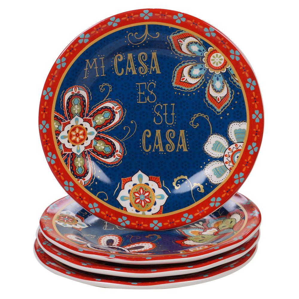 La Vida 4-Piece Country/Cottage Multi-Colored Ceramic 8.75 in. Dessert Plate Set (Service for 4)