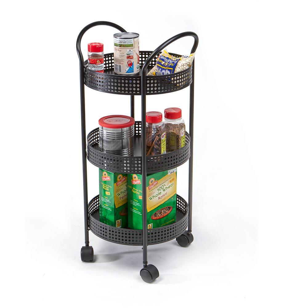 3-Tier Aluminum Round Storage Kitchen Trolley in Black