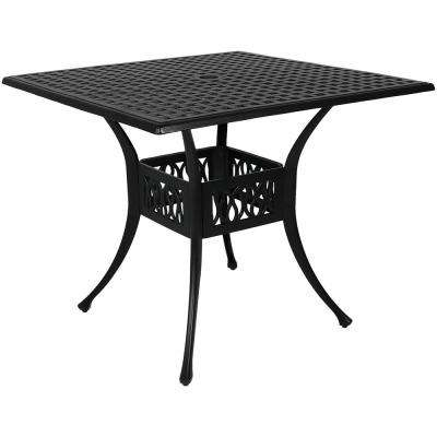 Black Square Cast Aluminum Outdoor Dining Table