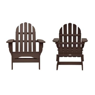 Icon Chocolate Recycled Plastic Folding Adirondack Chair (2-Pack)
