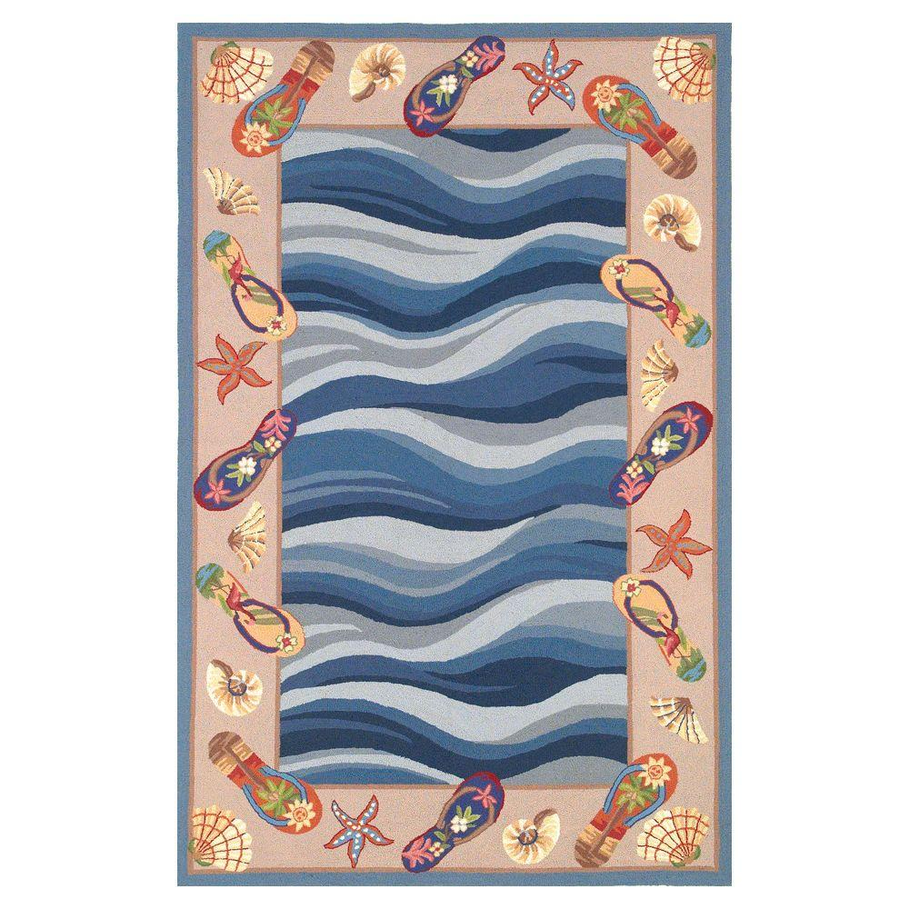 Ocean Footprints Blue 2 ft. 6 in. x 4 ft. 2