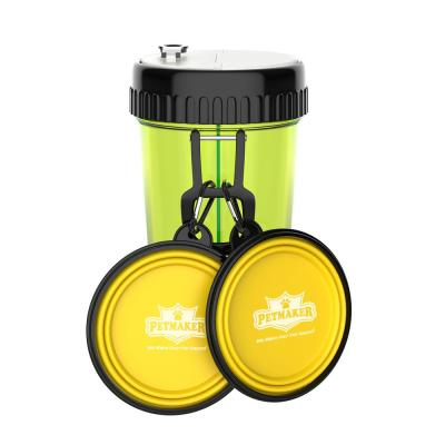 3-in-1 Travel Pet Feeding Containers in Green/Yellow