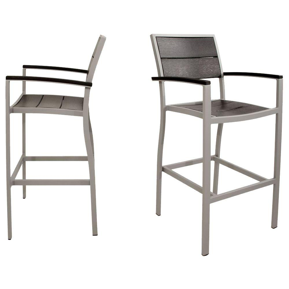 Trex Outdoor Furniture Surf City Textured Silver 2-Piece Patio Bar Chair Set with Charcoal Black Slats