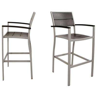 Surf City Textured Silver 2-Piece Patio Bar Chair Set with Charcoal Black Slats
