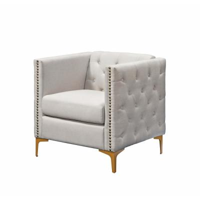 Adner Cream Linen Tufted Accent Chair