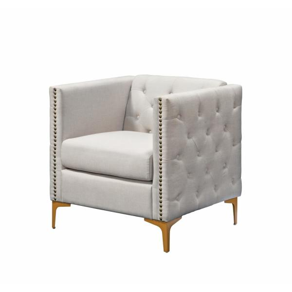 Furniture of America Adner Cream Linen Tufted Accent Chair