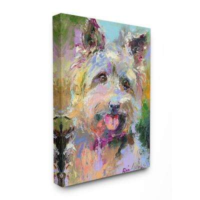 "30 in. x 40 in.""Brightly Colored Rainbow Painted Smiling Yorkie Dog Portrait"" by Artist Richard Wallich Canvas Wall Art"
