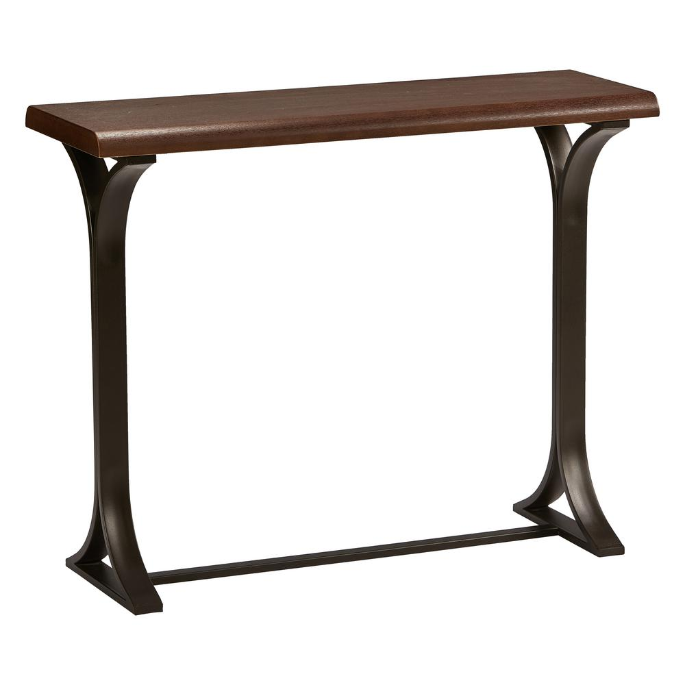 Hamburg Contemporary Oak Veneer and Black Metal Console Table