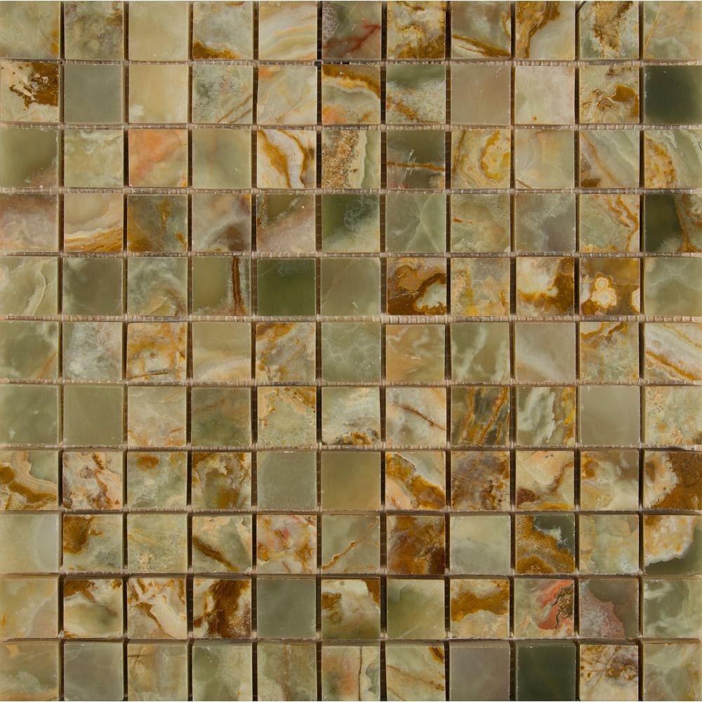 MS International Green 12 in. x 12 in. x 10 mm Polished Onyx Mesh-Mounted Mosaic Tile (10 sq. ft. / case)